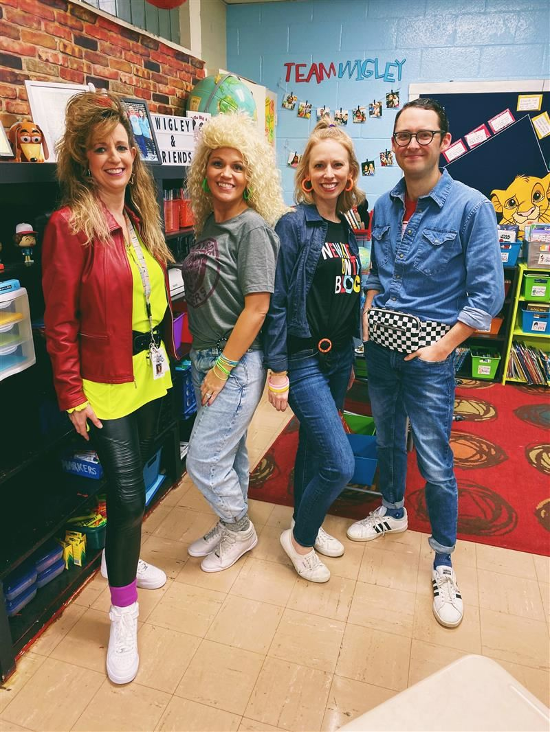 teachers dressed in 80's clothing