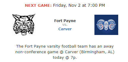 Fort Payne plays Carver Away at 7:00pm on 11/2