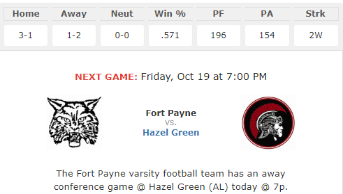 Fort Payne vs. Hazel Green at 7:00 on 10/19