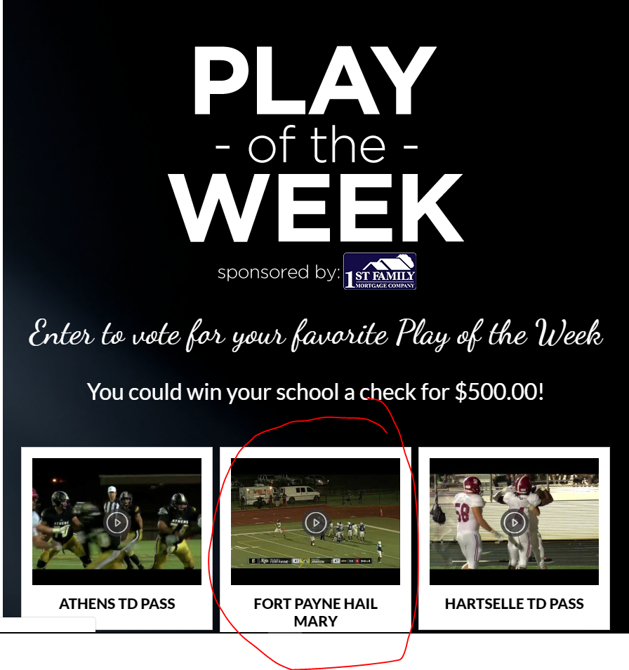 Fort Payne is Up for WAFF Play of the Week - Cast your Vote Before 9/19! http://www.waff.com/playoftheweek/