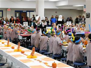 Kindergarten students celebrating Thanksgiving!