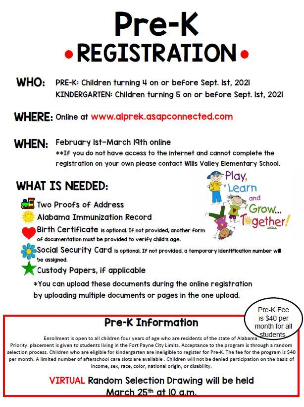 Pre-K Registration Flyer English