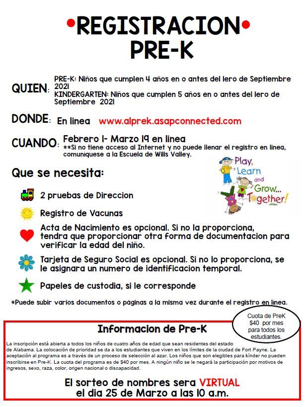 Folleto de registro de prekínder
