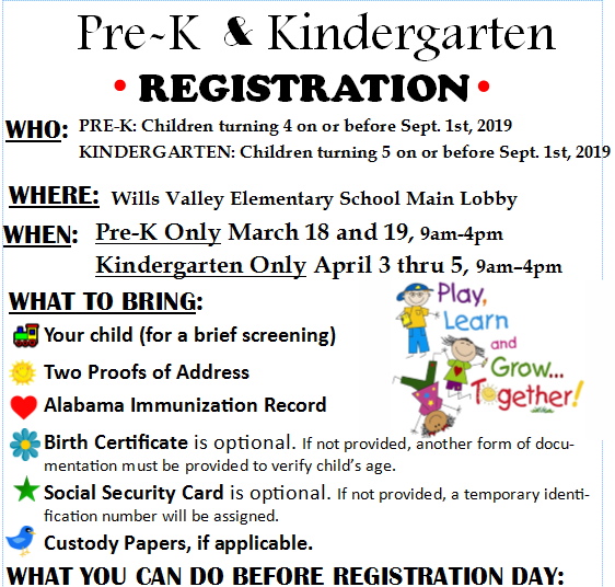 Pre-K and Kindergarten Registration - Click for more information...